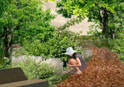 aménagement paysager traversé par un chemin de pierres